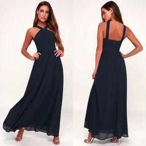 Lulu's Air of Romance Navy Blue Halter Maxi Dress